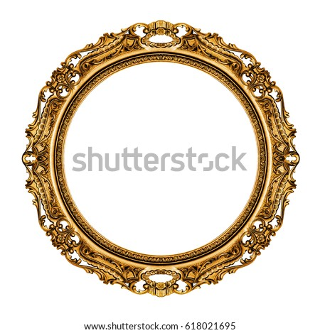 Gold vintage frame isolated on white background -Clipping Path Royalty-Free Stock Photo #618021695