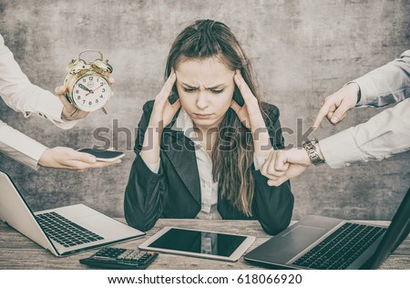 Female office worker is tired of work and exhausted. She has burned down and has depression. Royalty-Free Stock Photo #618066920