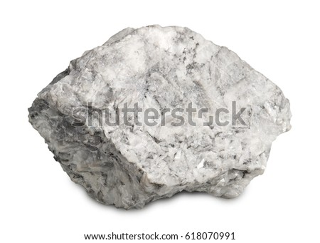 Mineral  magnesite isolated on white background. Magnesite are burnt to make magnesium oxide and used in jewelry-making,  in flooring material and as catalyst. #618070991