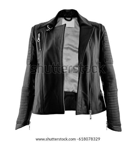 Female leather jacket on isolated white background #618078329