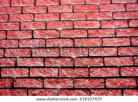 Beautiful red brick wall photographed in close-up #618107429