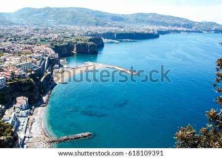 landscape of sorrento's peninsula and gulf, Naples, Italy #618109391