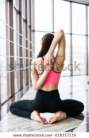 Woman Yoga - relax in studio yoga room #618117116