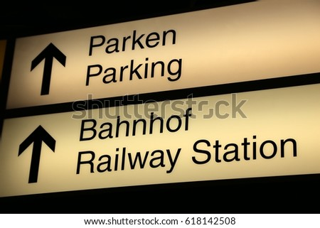 Parken / Parking and Bahnhof /Raiway station signs and icons at a German airport