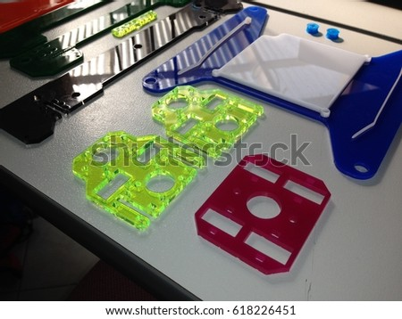 Perspex, acrylic, laser cut parts for 3d printer. plastic.