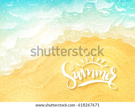 vector hand lettering summer inspirational label - summer - on top view sea surf background Royalty-Free Stock Photo #618267671