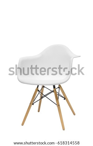 Single short wooden leg chair isolated on white background #618314558