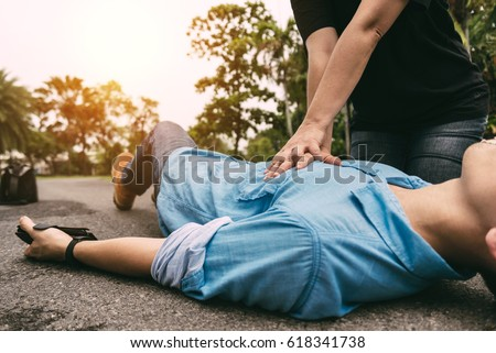 First Aid Emergency CPR on Heart Attack Man , One Part of the Process Resuscitation - Healthcare Concept #618341738