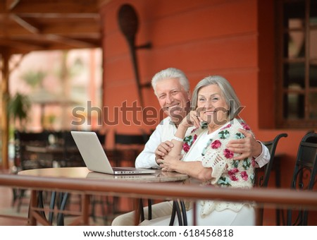 Elderly couple with a laptop #618456818