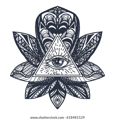 Vintage All Seeing Eye in Mandala Lotus. Providence magic symbol for print, tattoo, coloring book,fabric, t-shirt, cloth in boho style. Astrology, occult, esoteric insight sign with eye. Vector #618481529