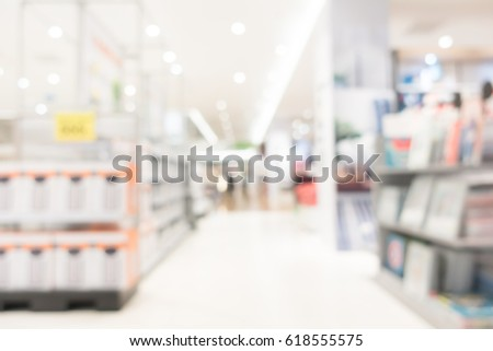 Abstract blur shopping mall in department and retail store interior for background #618555575