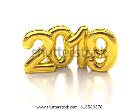 Gold rounded 2019 3d rendering #618560378