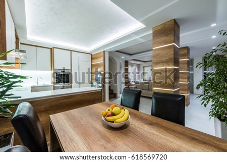 Kitchen interior and dining table #618569720