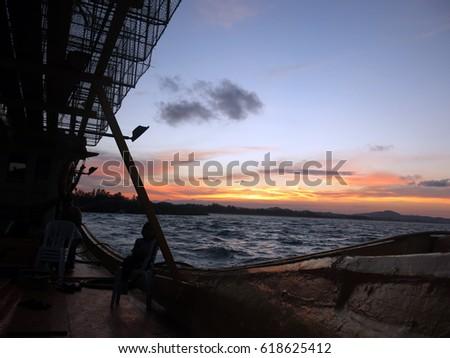 7 April 2017- Terengganu, Malaysia- Beautiful sunset at estuary area at Terengganu, Malaysia. picture taken from fisherman boat heading to jetty