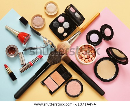 Set cosmetics makeup, brush, eye shadow and lipstick #618714494