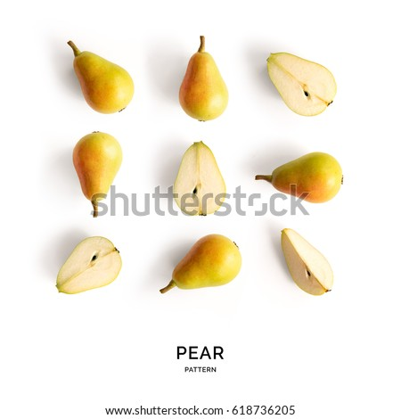 Seamless pattern with pear. Tropical abstract background. Pear fruit on the white background. Royalty-Free Stock Photo #618736205