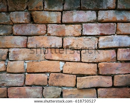 Gothic vintage red brick wall background. #618750527