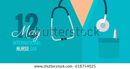 12 May. International Nurse Day background. Close-up of nurse`s uniform and stethoscope. Vector flat illustration