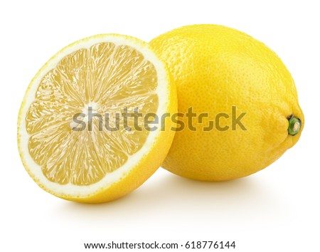 Group of ripe whole yellow lemon citrus fruit with lemon fruit half isolated on white background with clipping path #618776144