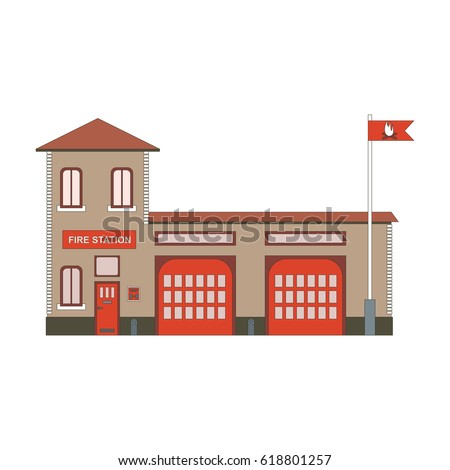 Fire station building icon flat Graphic illustration