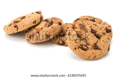 Chocolate chip cookies isolated on white background. Sweet biscuits. Homemade pastry. #618859685
