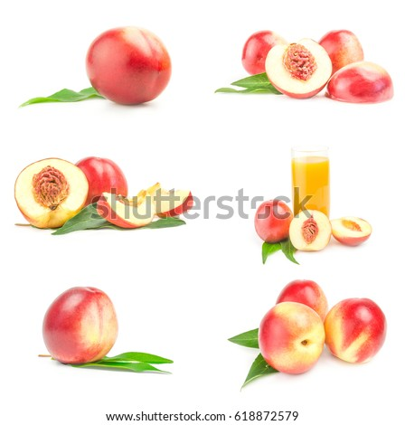 Set of fresh peaches fruits isolated on a white background cutout #618872579