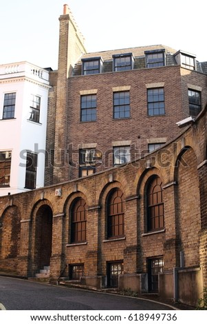 London - April 08, 2017: Marylebone in central London is a well preserved central district developed by the De Walden family.  #618949736