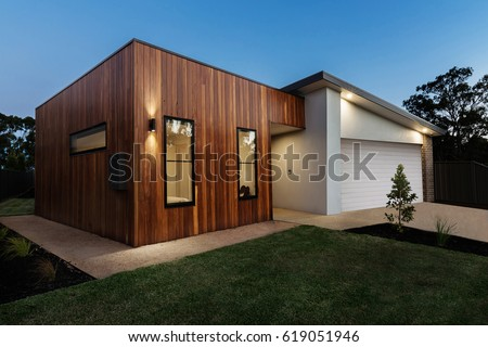 Dusk shot of a contemporary Australian home #619051946