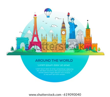 Around the world - modern vector line travel illustration. Discover Russia, England, USA, France. Have a trip, enjoy your vacation.See landmarks like stature of liberty, kremlin, tower #619090040