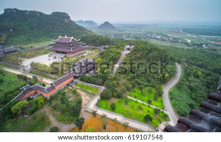 Ninh Binh, Vietnam, March 25, 2017: Bai Dinh Pagoda, Trang An/Bai Dinh pagoda. One part of the Trang An Scenic Landscape Complex was inscribed as a UNESCO World Heritage Site #619107548