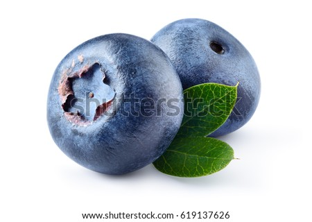 Blueberry. Two fresh blueberries with leaves isolated on white background. With clipping path. #619137626