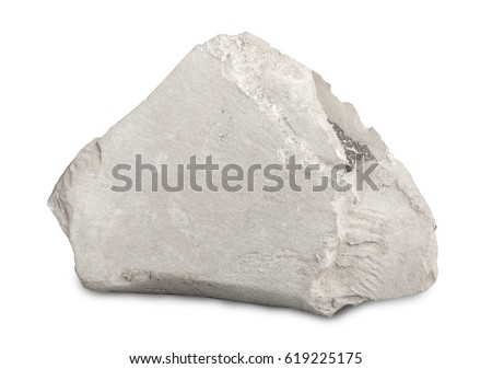 Marl (marlstone) isolated on white background. Marl (marlstone) mineral stone is a calcium carbonate or lime-rich mud or mudstone which contains variable amounts of clays and silt.  #619225175