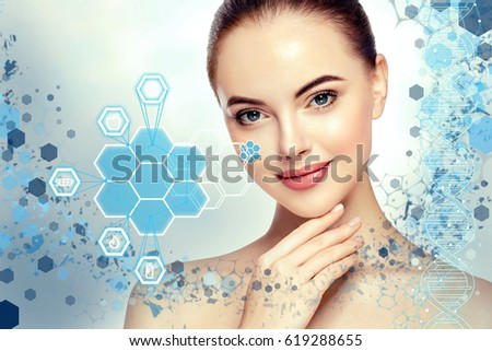 Beautiful woman info-graphic portrait with information and healthy concept #619288655
