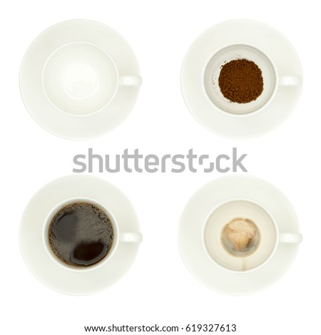 Cups of coffee isolated on white #619327613