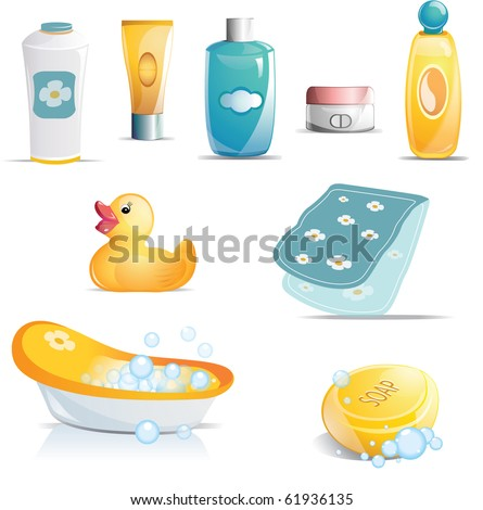 Variety of baby bath time items including tub, rubber duck, towel, soap, shampoo, powders, lotions and creams.