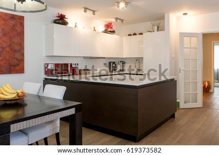 MOSCOW, RUSSIAN FEDERATION - CIRCA APRIL, 2017: Apartment, interior. View of the cooking area. #619373582