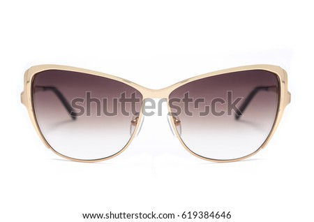 women's sunglasses with brown glass isolated on white #619384646