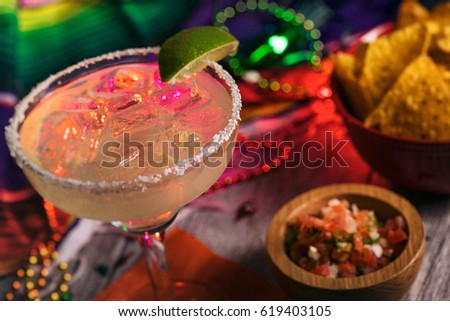 Fiesta: Delicious Margarita On The Rocks With Salt On Rim #619403105