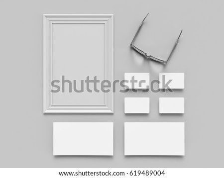 Blans and frames on gray background. flat lay. Concept for signes and interiors.