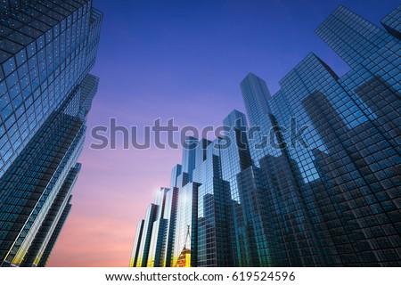 3d rendering office building in city #619524596