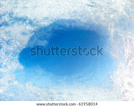 frozen glass with the thawed hole Royalty-Free Stock Photo #61958014