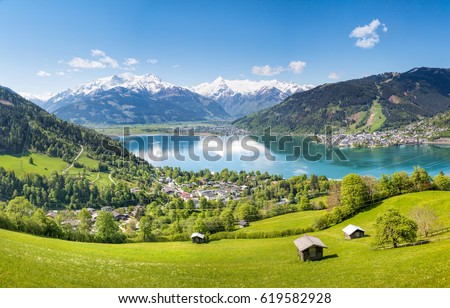 View over Zell am See in Summer, Salzburg, Austria Royalty-Free Stock Photo #619582928