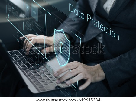 Data Security system Shield Protection Verification Royalty-Free Stock Photo #619615334