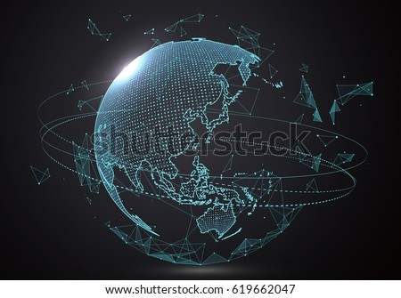 Futuristic globalization interface, a sense of science and technology abstract graphics. Royalty-Free Stock Photo #619662047