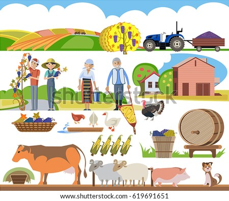 A set of agricultural elements, a peasant family performs agricultural work #619691651