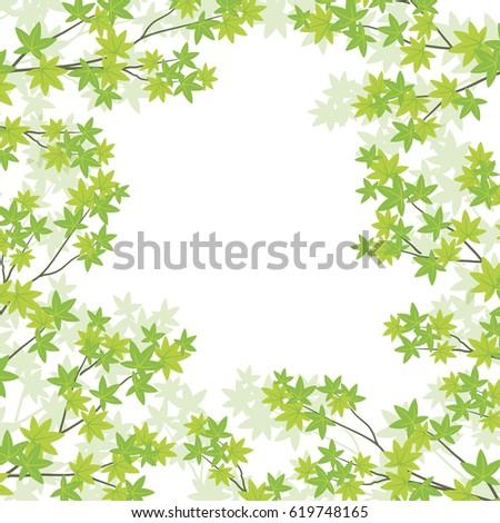 Background illustration of green maple leaves #619748165