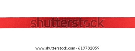 Silk red ribbon isolated on white #619782059