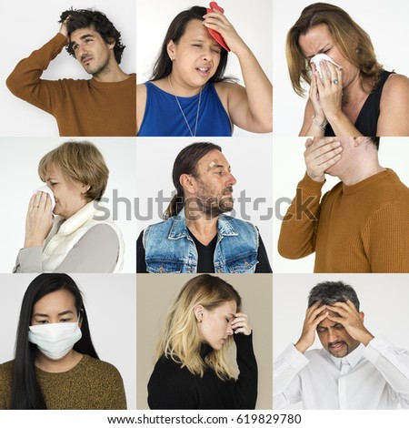 Collages diverse people illness symptoms #619829780