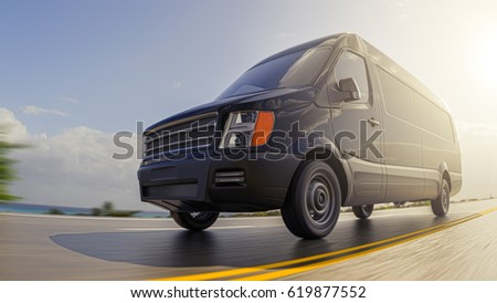 Black Cargo Van on Countryside Road at Sunny Day Motion Blurred Fish-eye Lens 3d Illustration Background #619877552
