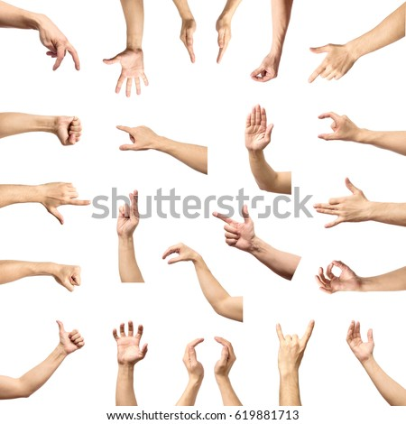 Male hand gesture and sign collection isolated over white background, set of multiple pictures #619881713
